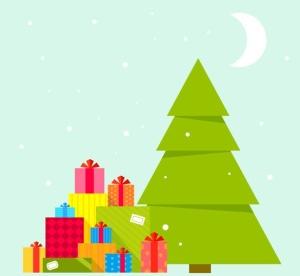 圣诞节礼物矢量插画设计素材 Set of Christmas illustrations with machines插图3
