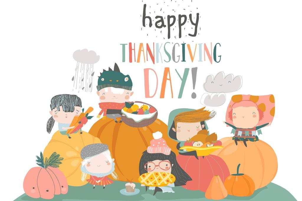 儿童卡通风格感恩节主题手绘矢量图形素材 Cartoon children harvesting. Happy Thanksgiving Da插图