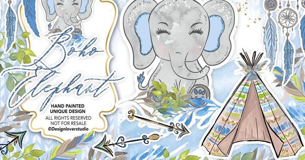 波西米亚风格可爱大象水彩插画合集 Boho Elephant Blue Cute design插图