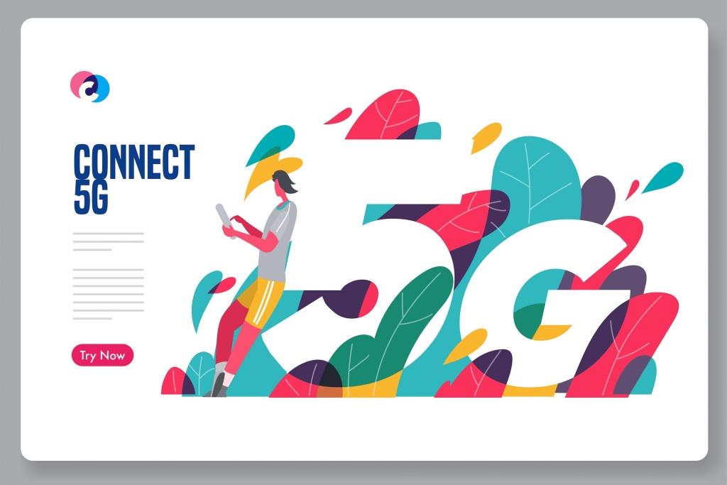5G网络开启新纪元科技主题矢量插画素材 5G connection unlock new era插图