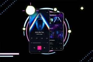 高质量霓虹灯风格iOS/Android手机样机模板 Neon IOS & Android插图5