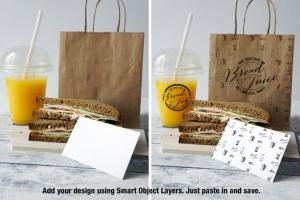 咖啡馆品牌VI设计样机模板 Sandwich Cafe Mockup插图2