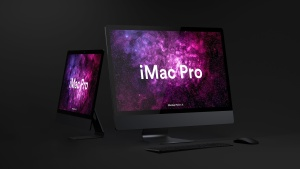 酷黑背景iMac Pro一体机电脑样机模板 Dark iMac Pro Mockup插图8