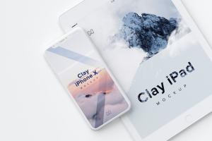iPhone X&iPad叠放平铺视觉屏幕设计演示样机模板01 Clay iPhone X and iPad Mockup 01插图1