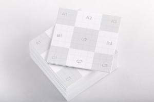 方形企业名片设计样机01 Square Business Cards Mockup 01插图2
