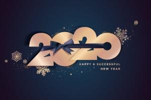 圣诞节庆祝暨迎接2020年主题矢量插画设计素材v4 Happy New Year 2020 business greeting card插图(1)