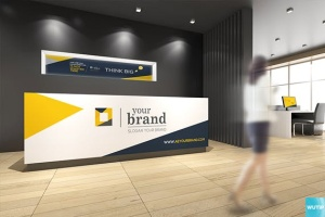 3D立体logo标志企业文化办公室设计VI样机展示模型mockups插图6
