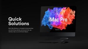 酷黑背景iMac Pro一体机电脑样机模板 Dark iMac Pro Mockup插图5