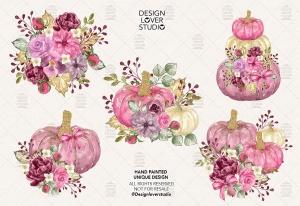 "南瓜&花卉水彩剪贴画素材 Watercolor ""Floral Pumpkin 2"" clip arts插图2"