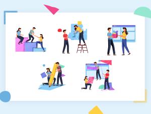 一流设计素材网下午茶:表现团队合作创意概念矢量插画素材下载[Ai]插图5