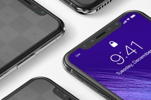 iPhone X多屏幕平铺视角手机应用UI设计效果预览样机07 iPhone X Mockup 07插图3