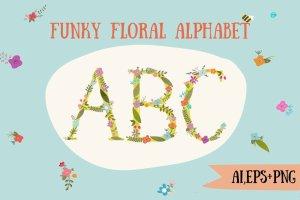 时尚的手绘花卉字母装饰图  Funky floral alphabet插图1