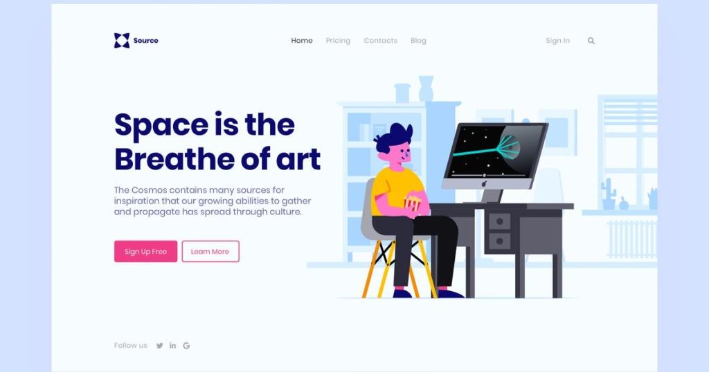 网站着陆页设计学习办公场景插画模板 Space Landing Page Illustration插图