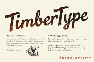 版画木刻纹理文本图层样式 TimberType插图1