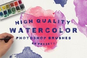 69款水彩艺术图案PS画笔笔刷 69 Watercolor Brushes for Photoshop插图1