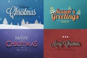 圣诞节主题文本图层样式v1 Christmas Text Effects Vol.1插图2