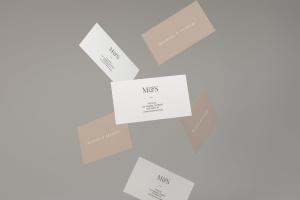 空中漂浮企业名片设计效果图预览样机 Flying Business Card Mockups插图1
