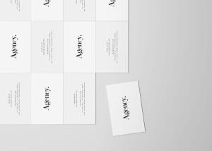 企业名片设计平铺俯视图样机模板 Business Card Mockup Top View插图2