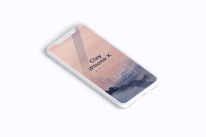 多个iPhone X智能手机屏幕等距平铺视觉样机模板 Clay iPhone X Mockup 02插图2