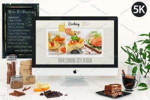 饮食餐厅工作场景iMac样机模板 iMac mockup – (cooking)插图2