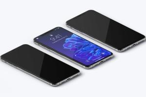 iPhone XS Max智能手机等距左视图样机 iPhone XS Max Mockup, Isometric Left View插图2