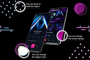 高质量霓虹灯风格iOS/Android手机样机模板 Neon IOS & Android插图2