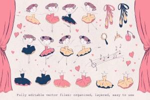 小芭蕾舞演员形象手绘插画图案矢量素材 Little ballerina插图3