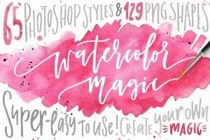 水彩纹理&图层样式设计套装 Watercolor Magic – design kit插图1
