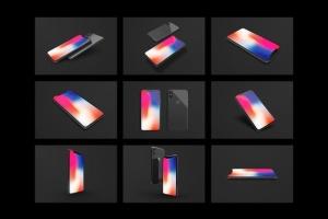 黑色iPhone X设备UI设计展示样机套装 iPhone X Mockup Set插图6
