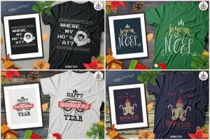 20款圣诞节主题复古风T恤印花图案设计素材包 Christmas T-Shirt Designs Retro Bundle. Xmas Tees插图3
