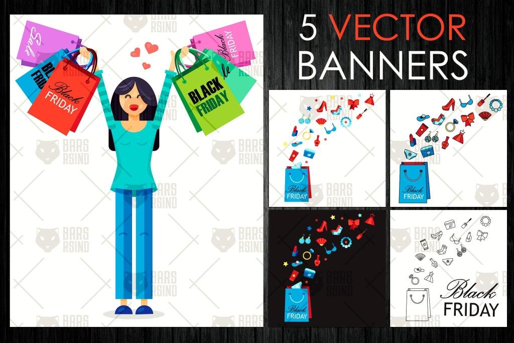 5款黒五购物节主题购物袋矢量图形素材 Black Friday Bags插图