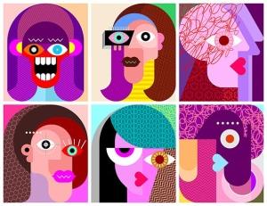 六款抽象女性人脸矢量插画素材 Six Faces / Six Characters vector illustration插图2