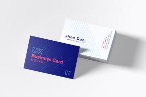 UK标准规格企业名片设计预览图样机模板06 UK Business Cards Mockup 06插图1