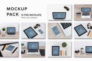 12款苹果笔记本&平板样机模板 Mockup Pack – 12 PSDs插图14