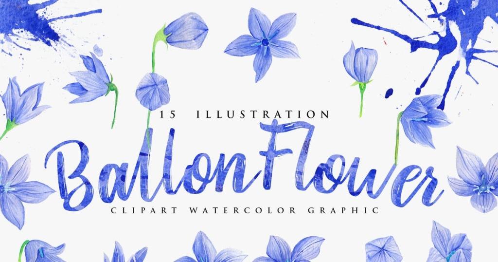 15款蓝色水彩花卉插画设计素材 15 Watercolor Ballon Flower Illustration插图