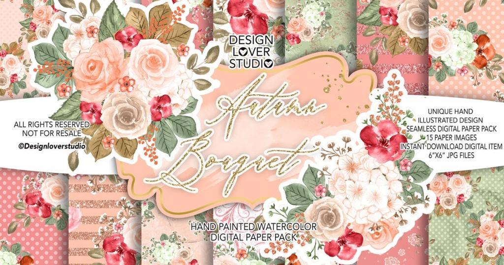 秋季主题水彩花卉手绘插画设计素材合集 Autumn Bouquet design插图