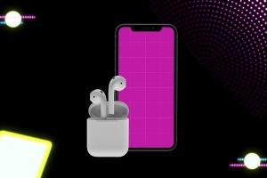 在线音乐APP设计效果图样机模板 Neon Music App MockUp插图8