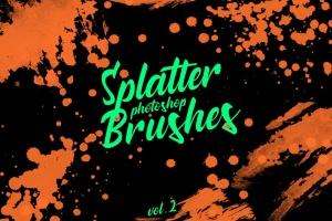 墨水飞溅泼墨图案纹理PS笔刷v2 Splatter Stamp Photoshop Brushes Vol. 2插图(1)
