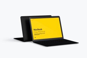 MacBook笔记本电脑屏幕预览图样机模板 Clay MacBook Mockup插图4