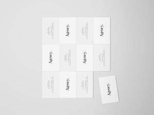 企业名片设计平铺俯视图样机模板 Business Card Mockup Top View插图1