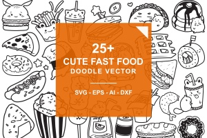 快餐美食涂鸦手绘矢量图案素材 Fast Food Doodle Vector插图1