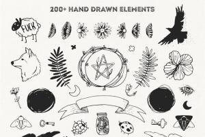 手绘装饰设计元素工具包[手绘图案+水彩样式+图形] The Hip Decorative Toolkit插图3