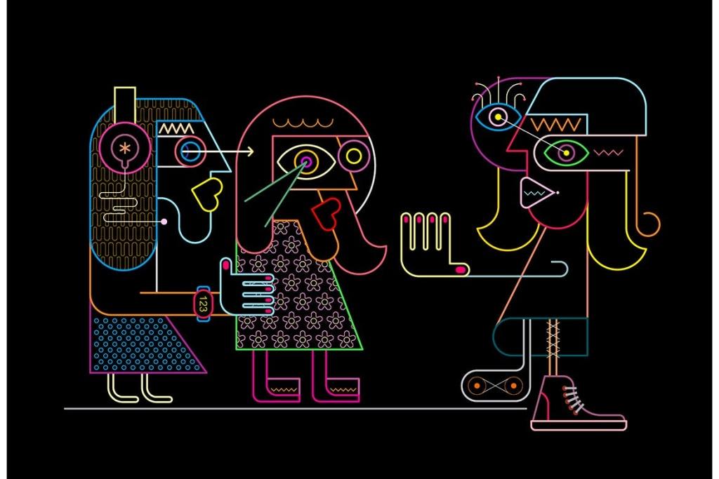 邀请拒绝抗拒场景抽象彩色线条艺术矢量插画素材 Woman Stops Two Girlfriends vector illustration插图