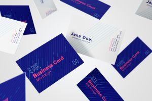 英国尺寸规格企业名片设计预览样机10 UK Business Cards Mockup 10插图2