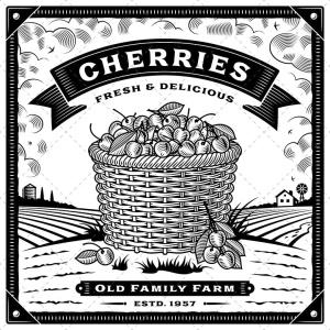 复古农场樱桃收获季节主题矢量插画 Retro Cherry Harvest Label With Landscape插图2