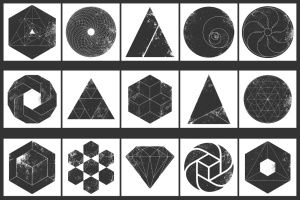 12个破损几何图形背景PSD分层模板 Instagram Textured Geometric Masks插图3