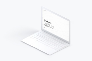 MacBook超极本屏幕演示右视图样机 Clay MacBook Mockup, Isometric Right View插图1