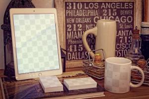 实景iPad Air/企业名片/马克杯品牌VI设计效果图样机 iPad Air 2, Business Cards, Mug Mockup插图2