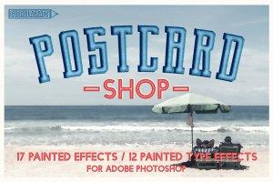 油画风格明信片效果图层样式 Postcard Shop for Adobe Photoshop插图1