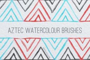 创意阿兹特克水彩画笔笔刷 Aztec Watercolor Brushes插图1